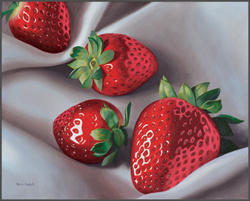 Strawberries On Linen - Nance Danforth Paintings