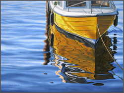 Yellow Boat Reflections - Nance Danforth Paintings