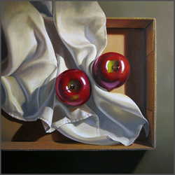 Apples And Linen In Box - Nance Danforth Paintings