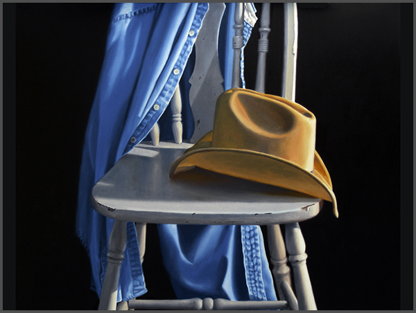 Cowboy Hat On White Chair - Nance Danforth Paintings