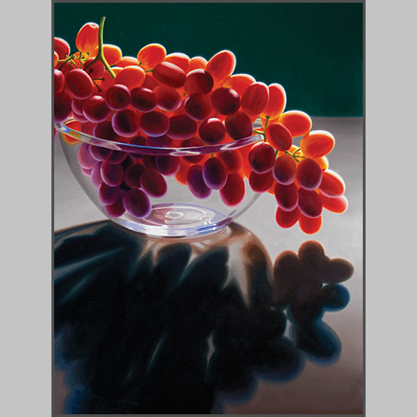 Red Grapes In Glass Bowl - Nance Danforth Paintings