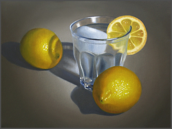 Water Glass With Lemons - Nance Danforth Paintings