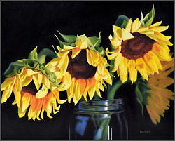 Sunflowers In Ball Jar - Nance Danforth Paintings