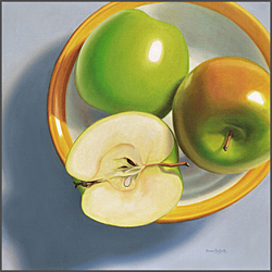 Green Apples In Bowl - Nance Danforth Paintings