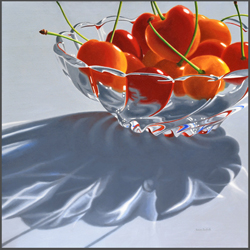 Rainier Cherries In Glass Bowl - Nance Danforth Paintings