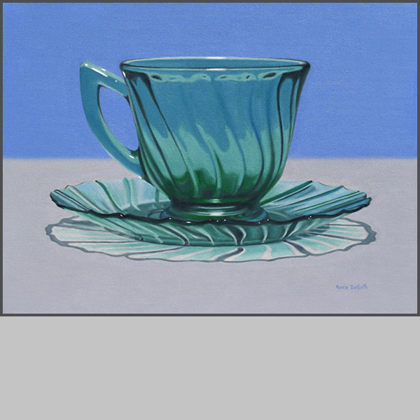 Green Cup And Saucer - Nance Danforth Paintings