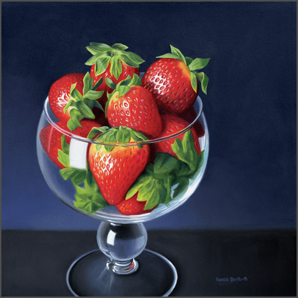 Strawberries In Brandy Glass - Nance Danforth Paintings